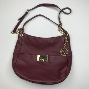 michael kors crossbody chain shoulder hobo oxblood